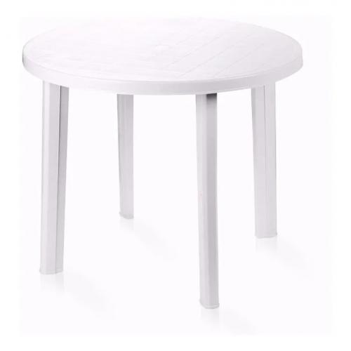 Mesa resina redonda 090 tondo blanca
