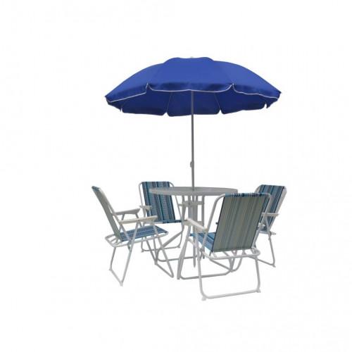 Juego de patio mesa y  4 sillas sombrilla azul