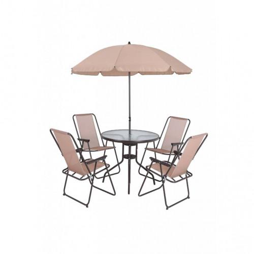 Juego de patio mesa y  4 sillas sombrilla beige