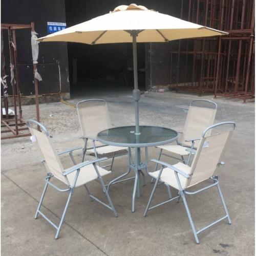 Juego de patio 6 piezas mesa redonda 4 sillas y sombrilla