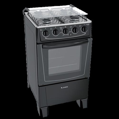 Cocina a gas james 4 horn c-105b negro ● termocupla de seguridad ● mesada inox ● encendido electrónico total