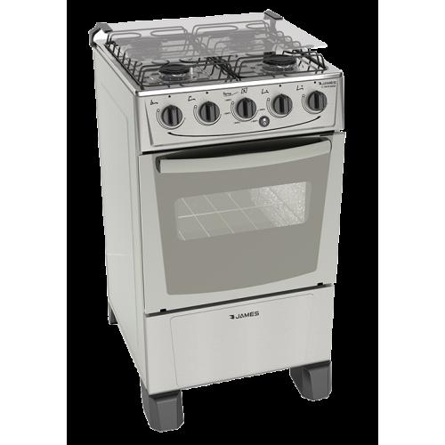 Cocina a gas james 4 horn c-105b inox frente acero ● termocupla de seguridad ● mesada inox ● encendido electrónico total