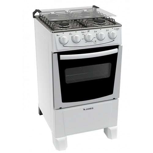 Cocina a gas james 4 horn c-105b blanco ● termocupla de seguridad ● mesada inox ● encendido electrónico total