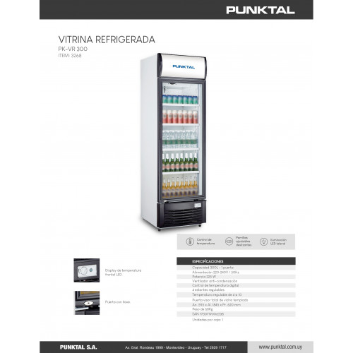 Vitrina refrigerada punktal pk-vr300 300 lts