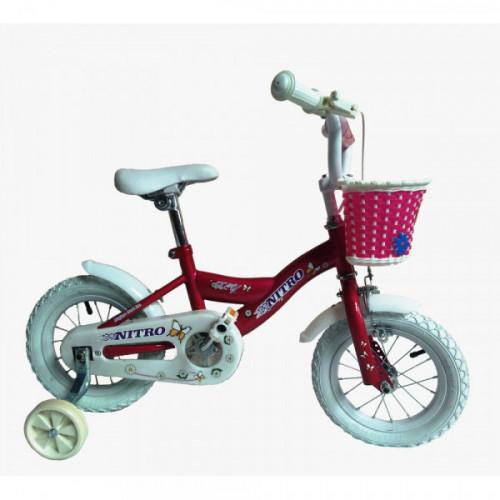 Bicicleta niña r 12 rosado y blanca nitro 12302