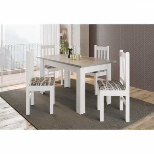 Comedor madera 4 sillas 28572 blanco san pablo tapa mdf blanca