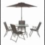 Juego de patio menorca 4 sillas y sombrilla chocolate 6 piezas