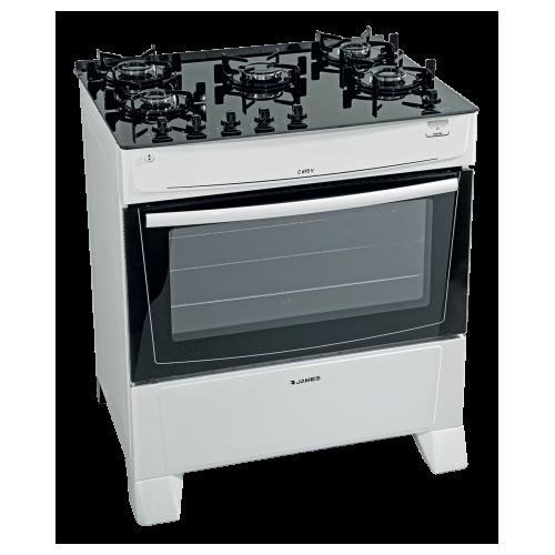 Cocina james supergas mesada de vidrio c-690v blanco 5 hornallas