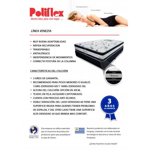 COLCHON POLIFLEX VENEZIA REVERSIBLE 140 190 28 D30/60