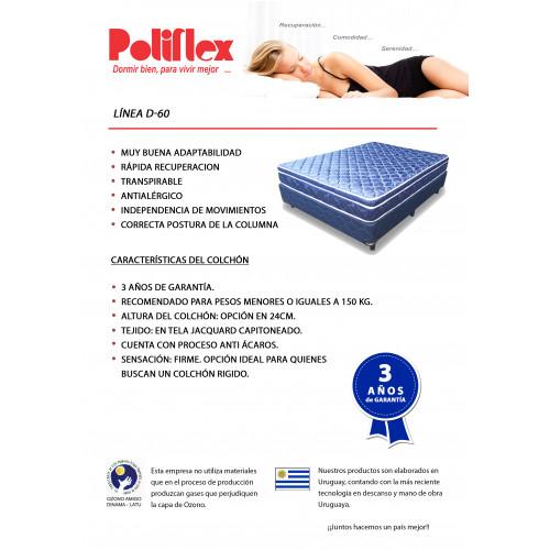 COLCHON POLIFLEX ALTA DENSIDAD D60 140 190 24
