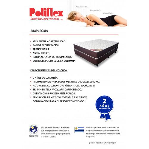 SET COLCHON + BOX 2 PLAZAS POLIFLEX ROMA 140 190 24 D25