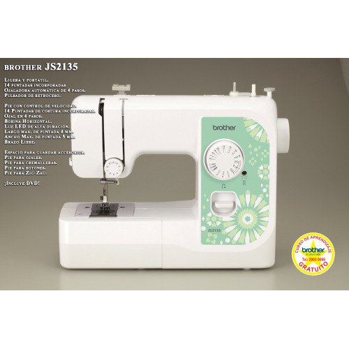 Maquina de coser brother  js2135  14 puntadas, ojaladora, retroceso, brazo libre